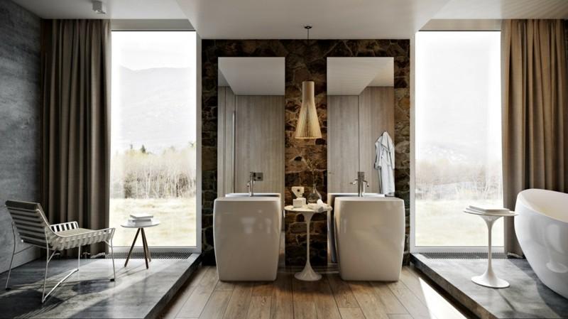 Luxus Badezimmer rustikaler Stil moderne Badeinrichtung