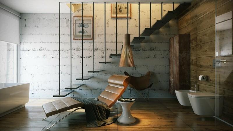 Luxusbäder Bilder Badmöbel modern Bricksteinwand Liegestuhl