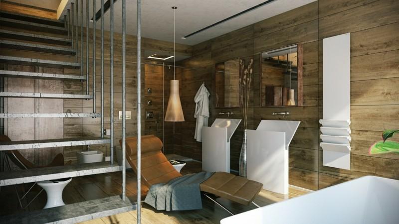 Luxusbäder Bilder Badmöbe modern Holzboden Holzwände Liegestuhl