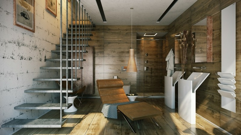 Luxusbäder Bilder Badmöbel modern Holzboden Liegestuhl