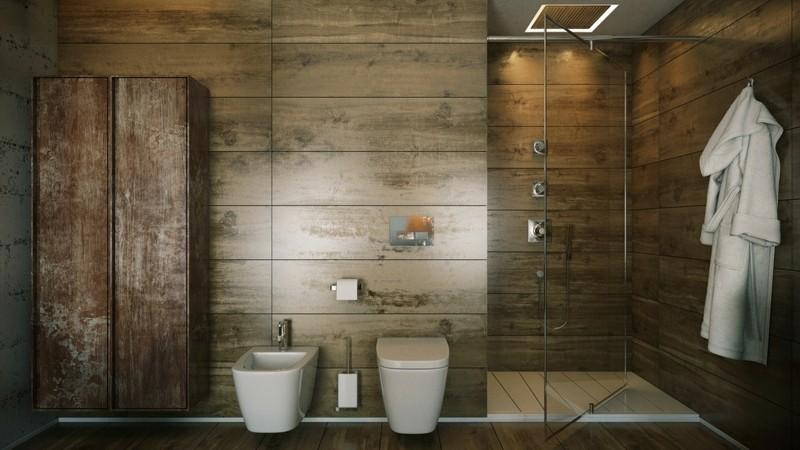 Luxusbäder Bilder Badmöbel modern Holzboden Shabby Chic Stil