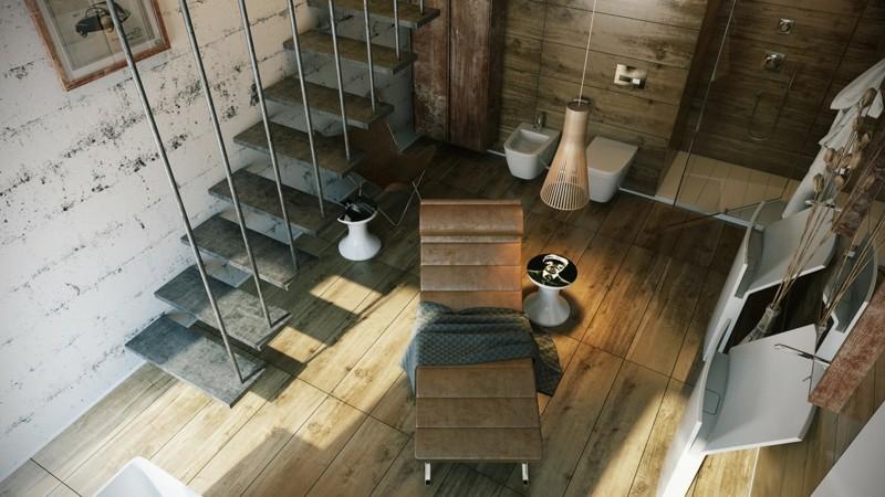 Luxusbäder Bilder Badmöbel modern Liegestuhl Treppen von oben