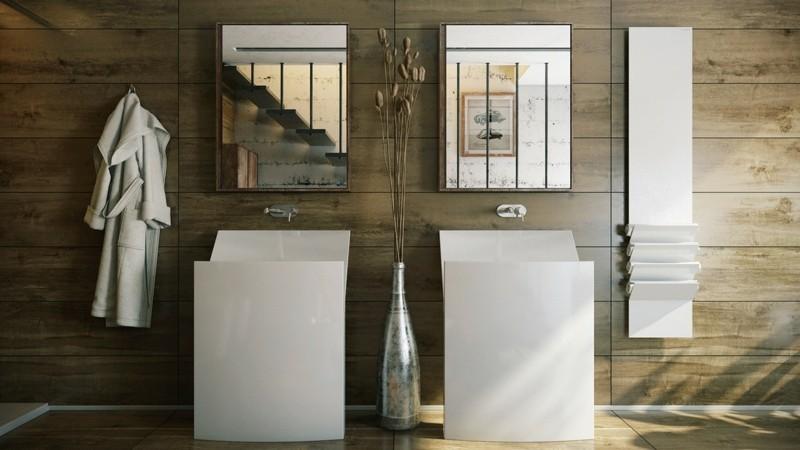 Luxusbäder Bilder moderne Badmöbel minimalistisch weiß Badezimmerarmatur