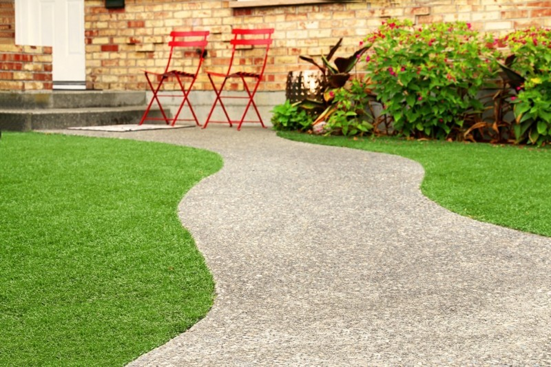 Rasenpflege Vorgartengestaltung Ideen Rasen Kies Gartenweg