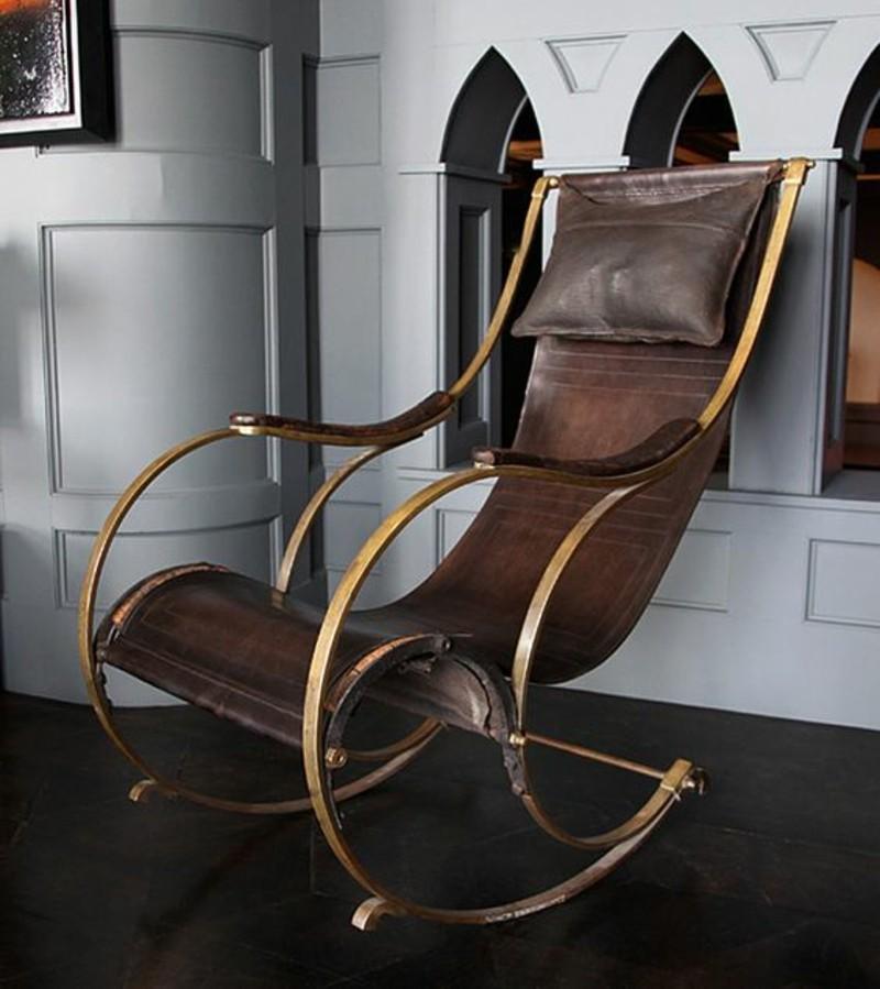 Schaukelstühle Wohnzimmer Möbel Leder und Holz
