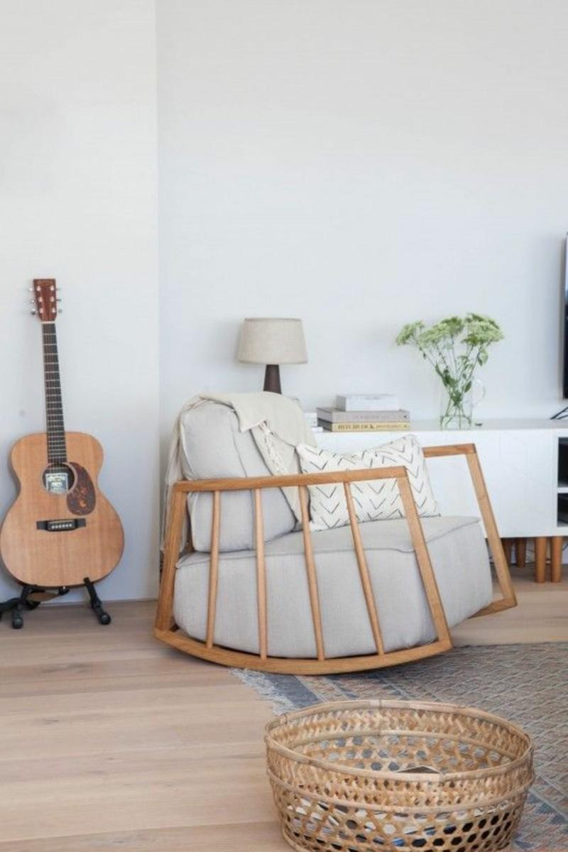 Wohnzimmermöbel Rattankorb klassische Schaukelstühle