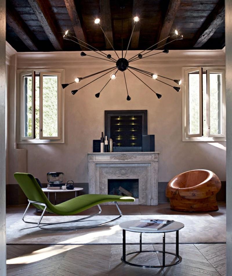 Schaukelstuhl grün Wohnzimmermöbel Kamin Schaukelstühle