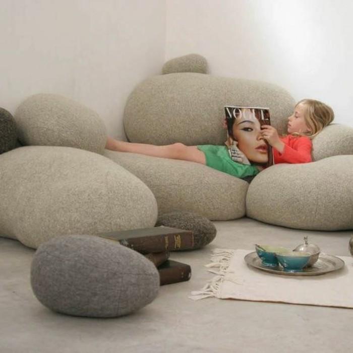 Sofa Kinderzimmer gestalten Kinderzimmer Möbel Couch Kieselstein Form