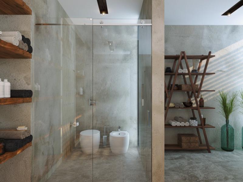 Traumbäder moderne Dusche Badmöbel Holzregal Handtücher Luxus Badezimmer
