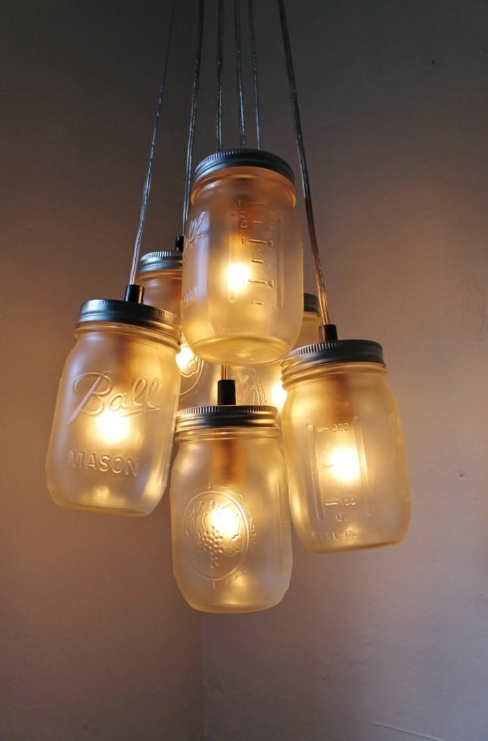ausgefallene lampen diy einmachgläser leuchter