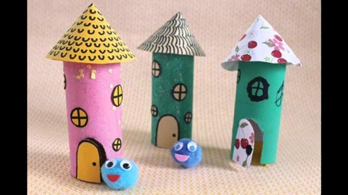 basteln mit klopapierrollen diy ideen deko ideen basteln mit kindern häuschen