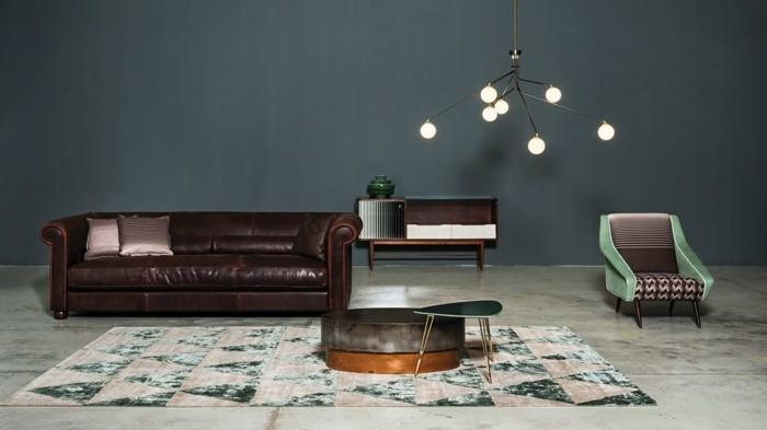 baxter sofa chester couch echtleder dunkelbraun runder couchtisch moderne beleuchtung
