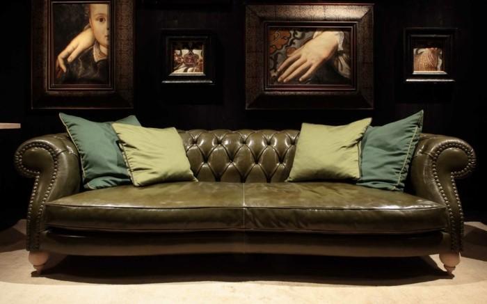 baxter sofa chester tuscany olivengrün echtleder glänzend