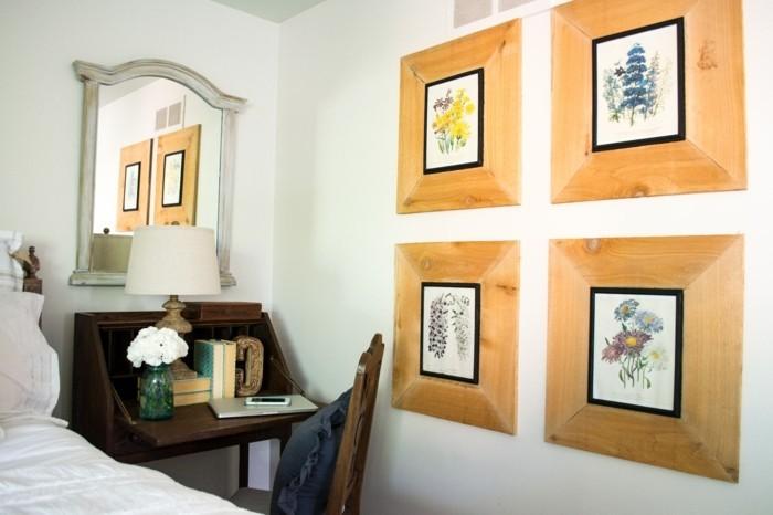 bilderrahmen basteln schöne dekoideen für das schlafzimmer