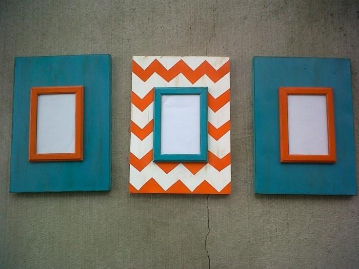 bilderrahmen selber machen farbig blau orange