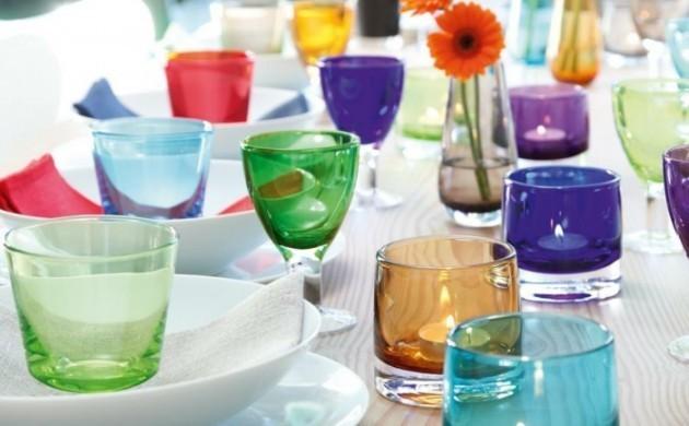 blumenvase-buntes-glas-teelichter-gläser-tischdeko-sommerpart