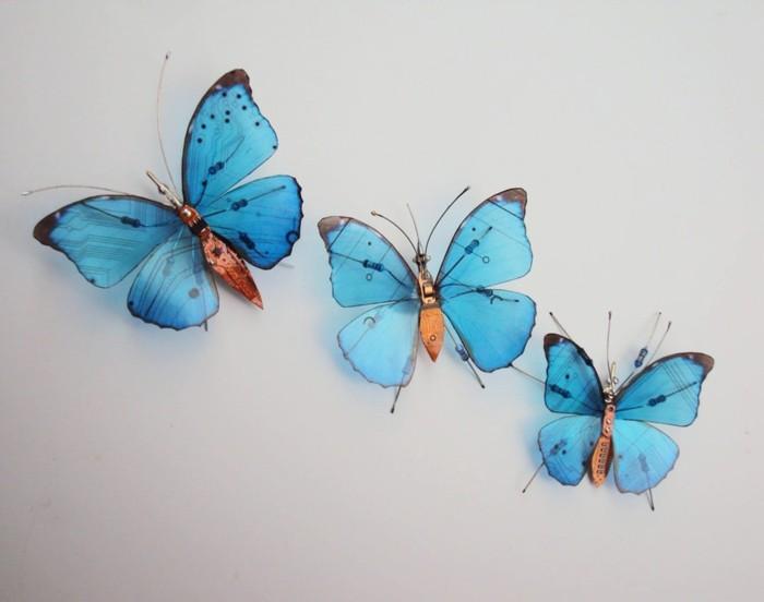 computerteile gebraucht blaue schmetterlinge insekten upcycling ideen