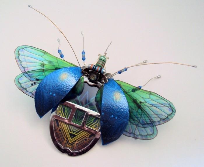 computerteile gebraucht blauer käfer upcycling ideen insekten