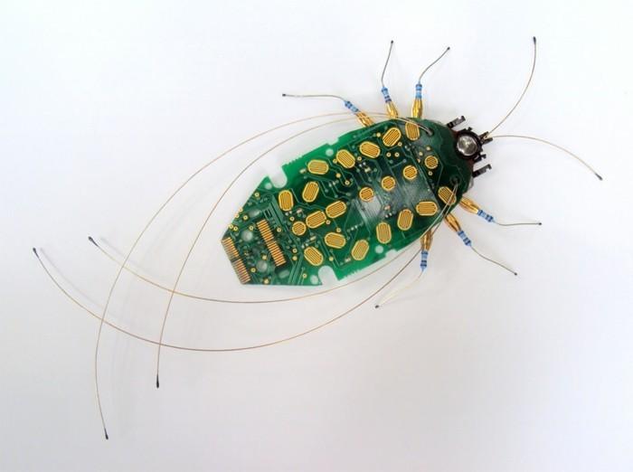 computerteile upcycling käfer insekten umweltfreundliche kunst