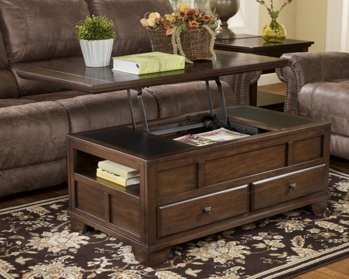 Holztisch mit Schubladen und offenem Regal