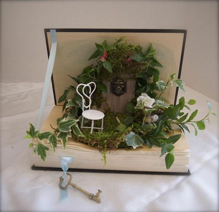 deko bücher pflanzenbehälter mini garten