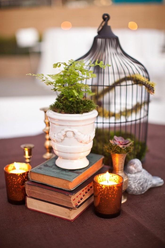 deko bücher vintage kerzen pflanzen