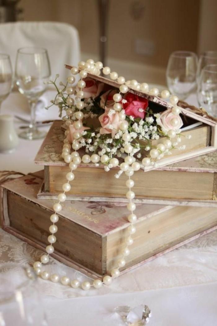 deko bücher vintage stil tischdeko