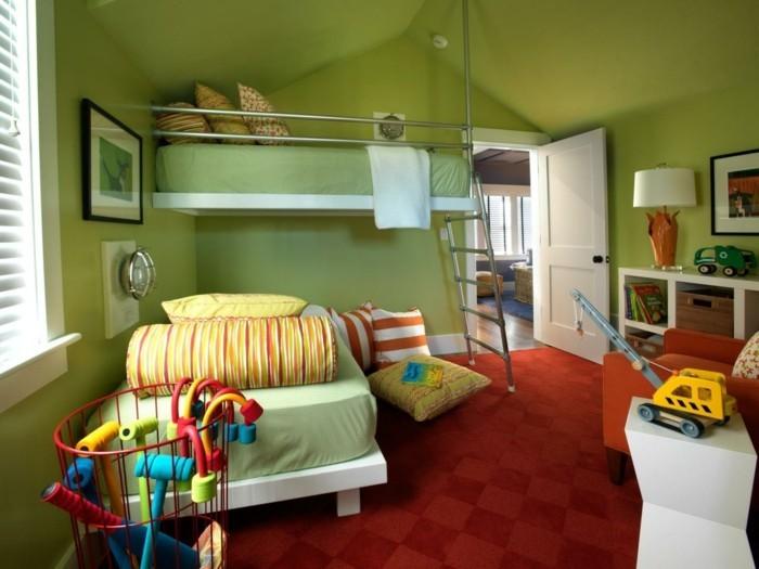 deko ideen kinderzimmer grüne wände roter teppichboden