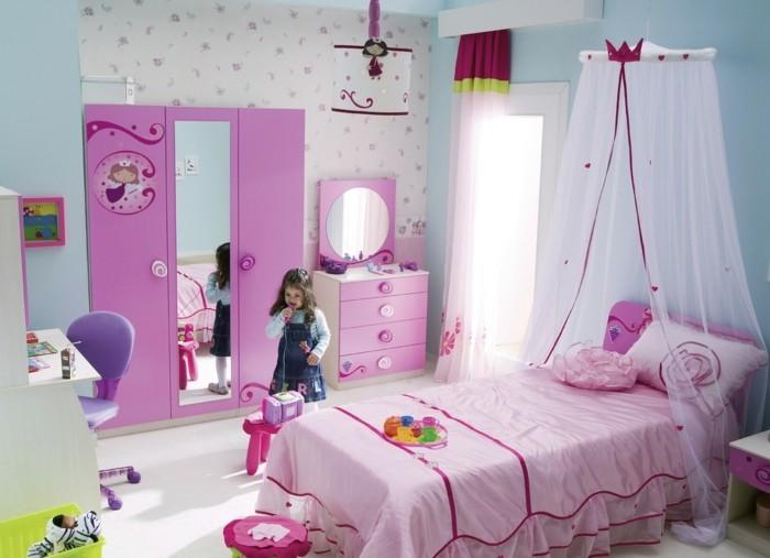 deko ideen kinderzimmer mädchenzimmer rosa möbel betthimmel