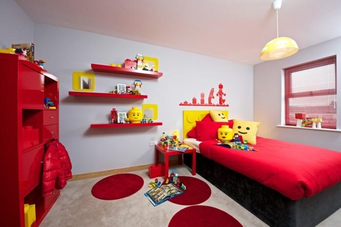 deko ideen kinderzimmer rote akzente lustige dekokissen