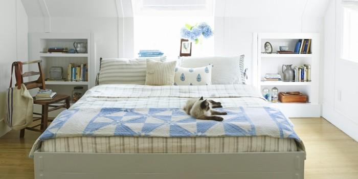 deko ideen schlafzimmer stoffmuster weiße wände