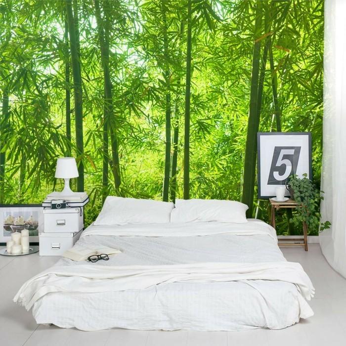 Dekoideen Schlafzimmer Wanddeko Ideen Weiße Bettwäsche Natur Muster  Wandmalerei ...