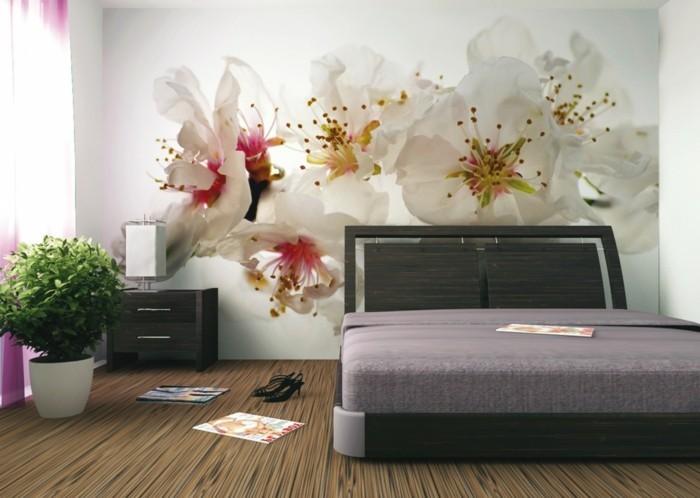 dekoideen schlafzimmer wanddesign blüten pflanzentopf