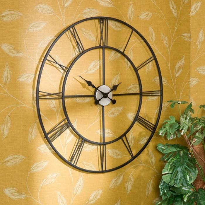 schöne wohnzimmer uhren:dekoideen wanduhren vintage pflanze schöne wandtapete florales muster ~ schöne wohnzimmer uhren
