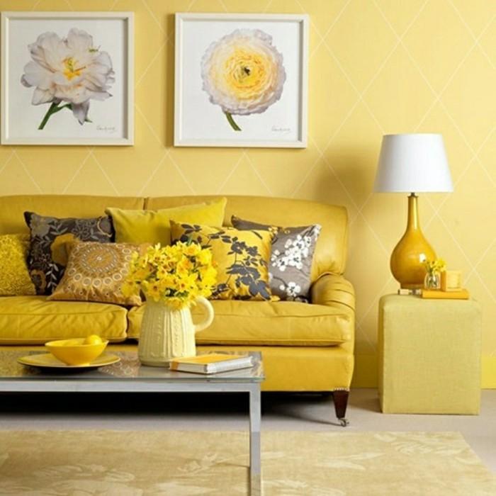 dekoideen wohnzimmer gelbes interieur gelbe blumendeko wandbilder