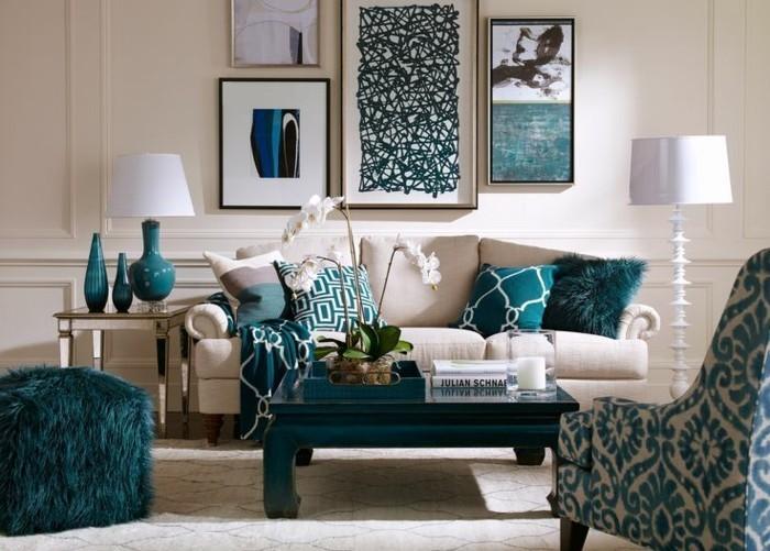 dekoideen wohnzimmer grüne stoffmuster orchidee