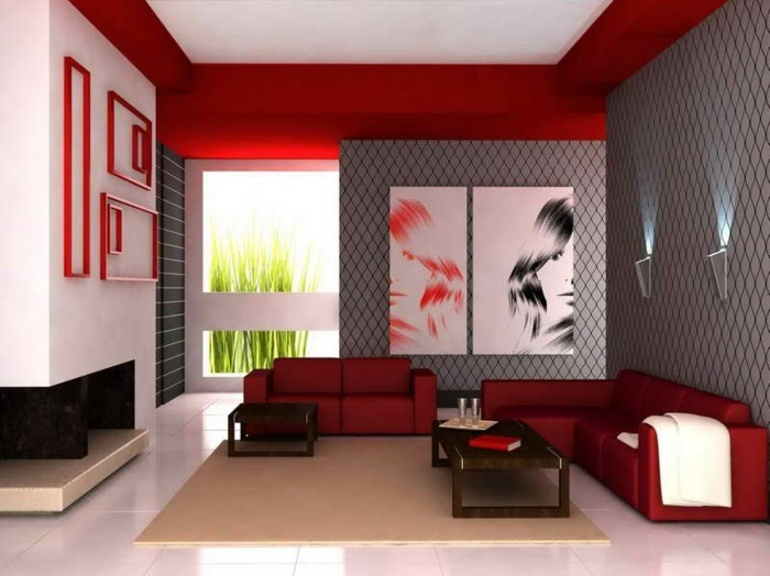 Dekoideen Wohnzimmer Rote Sofas Creme Teppich Weisse Bodenfliesen