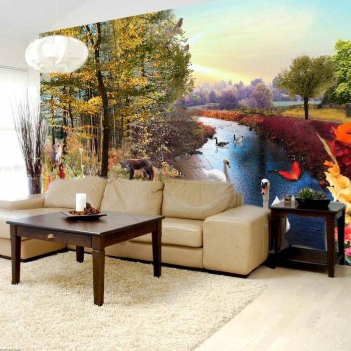 dekoideen wohnzimmer schöne akzentwand creme teppich hängelampe