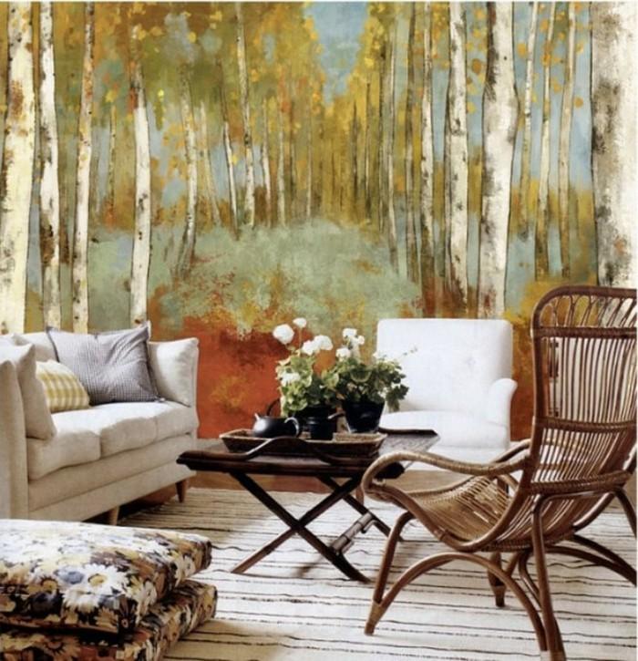 dekoideen wohnzimmer wald herbst streifenteppich bodenkissen