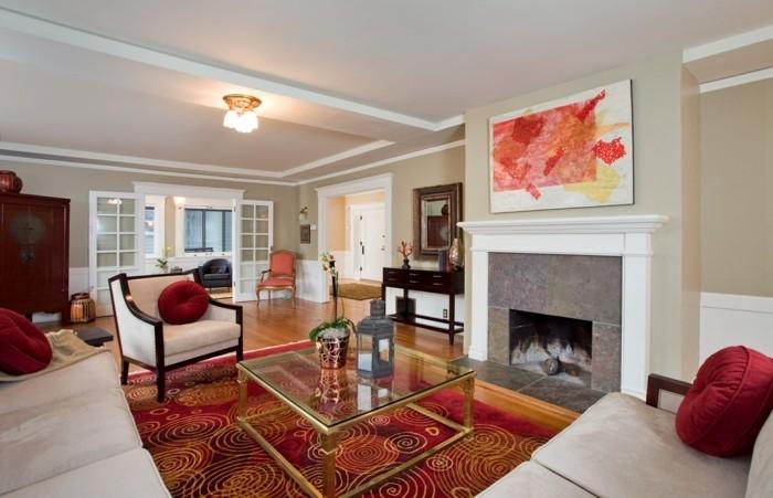 dekoideen wohnzimmer wandbild kamin farbiger teppich helle möbel