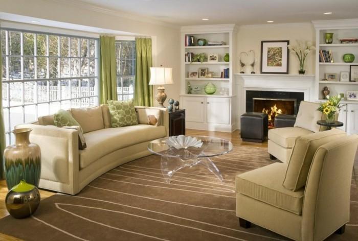 dekoideen wohnzimmer wandbild kaminsims dekorieren transparenter couchtisch bodenvasen