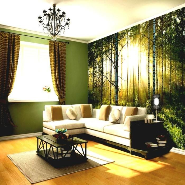 Dekoideen Wohnzimmer Wanddeko Gardinen Grüne Wandfarbe Wandmalerei ...