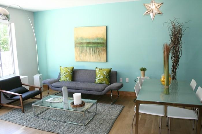 dekoideen wohnzimmer wanddeko ideen wandbild grüne dekokissen florales muster