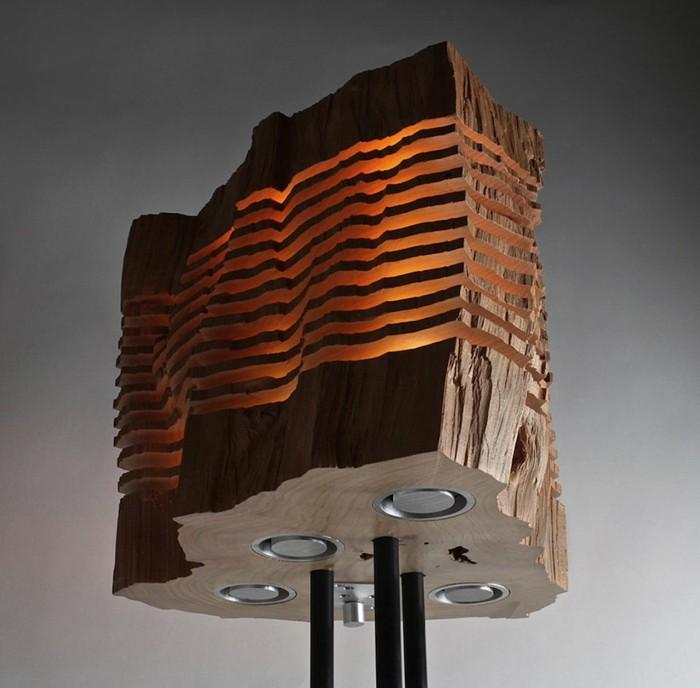 designer lampen brennholz leuchte stehlampe naturholz