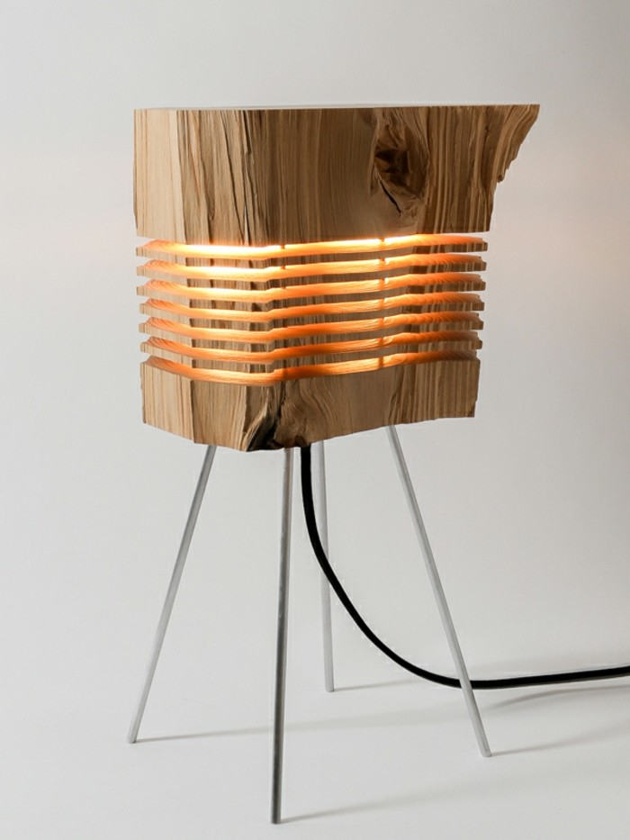 Schön Designer Lampen Brennholz Leuchte Stehleuchte Naturholz