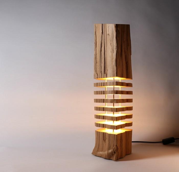 designer lampen brennholz leuchten naturaterialien