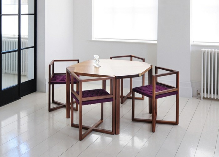 designer möbel holzmöbel tisch stühle geometrische formen