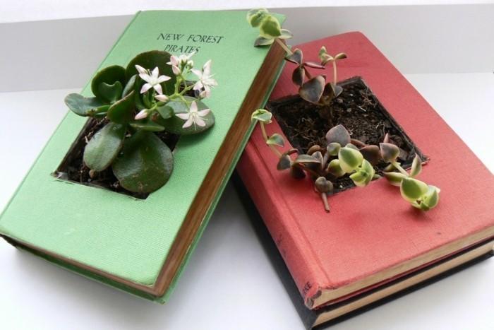 diy ideen bücher pflanzenbehälter basteln