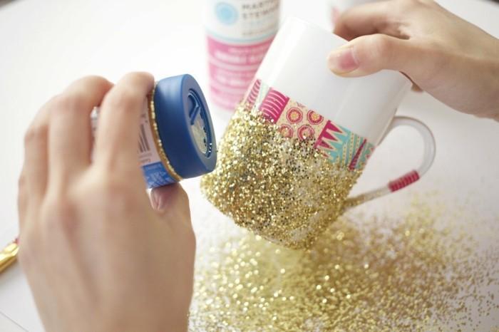DIY Geschenke diy ideen geschnkideen persönliche geschenke persönlicher glitzer becher glas2