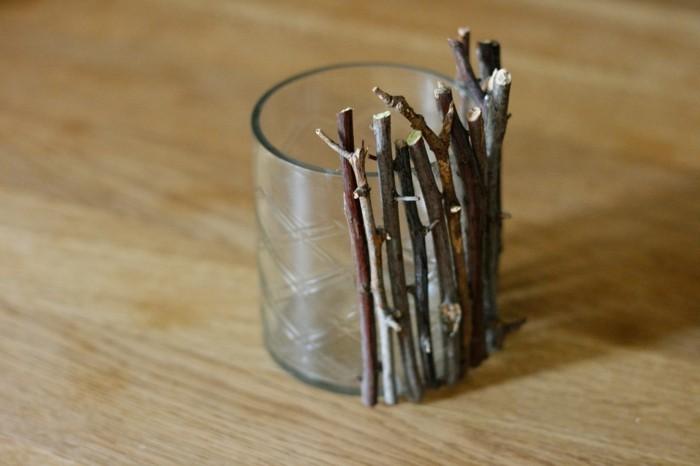 diy ideen kerzenhalter holzstöcke glas